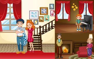 Membros da família em diferentes cômodos da casa vetor