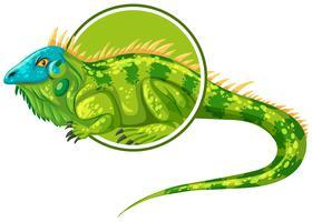 Personagem de iguanas no modelo de etiqueta vetor