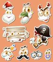 Design de etiqueta com personagens diferentes vetor