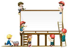 Modelo de placa e crianças trabalhando na construção