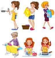 Mulheres, fazendo, diferente, tarefas vetor