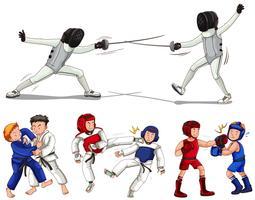 Diferentes tipos de artes marciais vetor