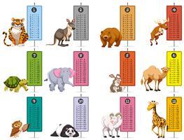 Modelo de animais selvagens e tabelas de tempo vetor