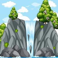 Cena da natureza com cachoeira no dia vetor