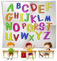 Alfabetos ingleses e crianças em sala de aula vetor
