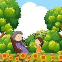 Palavras opostas para velhos e jovens com avó e criança vetor