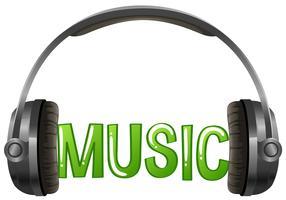 Design de fonte com música de palavra com fone de ouvido