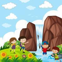 Quatro, crianças, por, a, cachoeira vetor