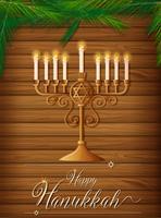 Feliz Hanukkah com velas e pinheiro vetor