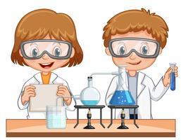 Rapaz e rapariga fazem ciência experimentar juntos vetor
