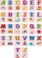 Alfabetos ingleses de A a Z com imagens vetor