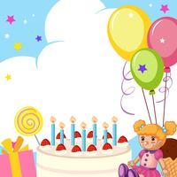 Um, cute, cartão aniversário vetor