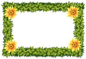 Modelo de quadro com flores e folhas vetor