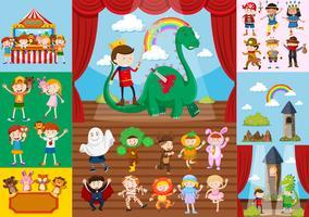 Crianças e cenas de teatro escolar vetor