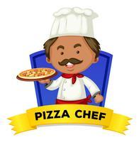 Wordcard da ocupação com o cozinheiro chefe da pizza da palavra vetor