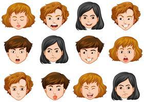 Rostos humanos com emoções diferentes vetor