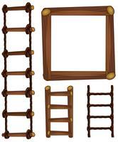 Escadas e moldura de madeira vetor