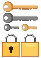 Fechaduras e chaves em fundo branco vetor