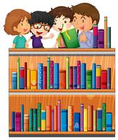 Crianças, leitura, livros, em, biblioteca vetor