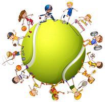 Pessoas, fazendo, diferente, desporto