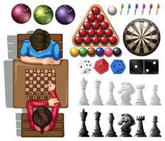 Gam set com pessoas jogando xadrez vetor