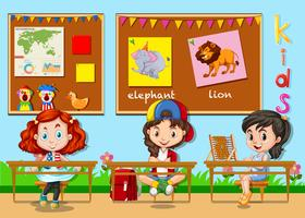 Crianças, estudar, em, sala aula vetor
