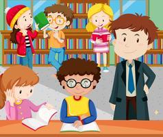 Alunos lendo e estudando na biblioteca vetor