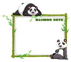 Design de fronteira com bambu e panda vetor