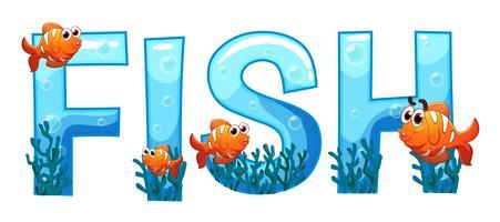Design de fonte para peixe de palavra vetor
