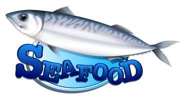 Sinal de atum e frutos do mar vetor