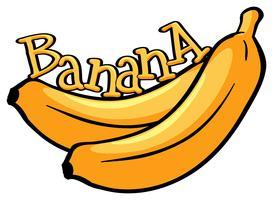 Design de fonte com banana de palavra vetor