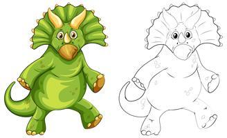 Contorno de animais para dinossauro triceratops vetor