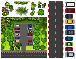 Parque de estacionamento com muitos carros vetor