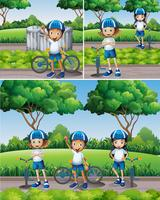 Meninos e meninas andando de bicicleta no jardim vetor