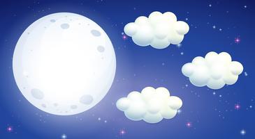 Cena com lua cheia e nuvens vetor