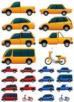 Diferentes tipos de transporte em três cores