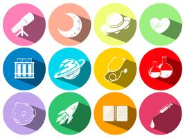 Símbolos de ciência e tecnologia nos botões vetor