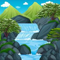 Cena de fundo com cascata na montanha