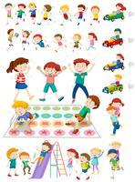 Personagens de crianças jogando jogos vetor
