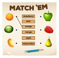 Jogo de correspondência com frutas frescas vetor