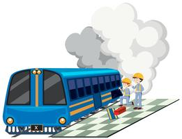 Dois mecânicos reparando motor de trem vetor