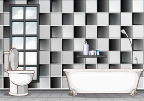 Casa de banho com azulejos preto e branco