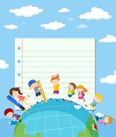 Modelo de papel de linha com as crianças na terra vetor