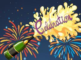 Noite de celebração com fogo de artifício e champanhe