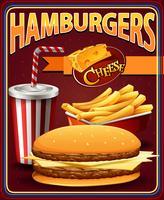 Design de cartaz para hambúrgueres e batatas fritas vetor