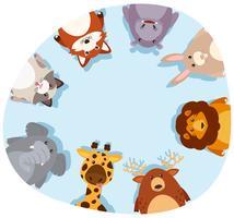 Borda redonda com animais fofos vetor