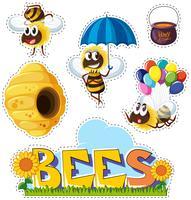 Design de adesivo com abelhas e colmeia vetor