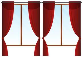 Janelas com cortinas vermelhas vetor