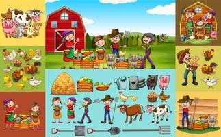 Agricultores e animais na fazenda vetor