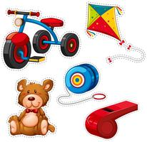 Design de etiqueta com triciclo e outros brinquedos vetor